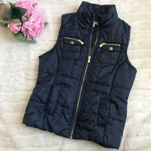 Bongo Black Puffer Vest with Gold accents size S